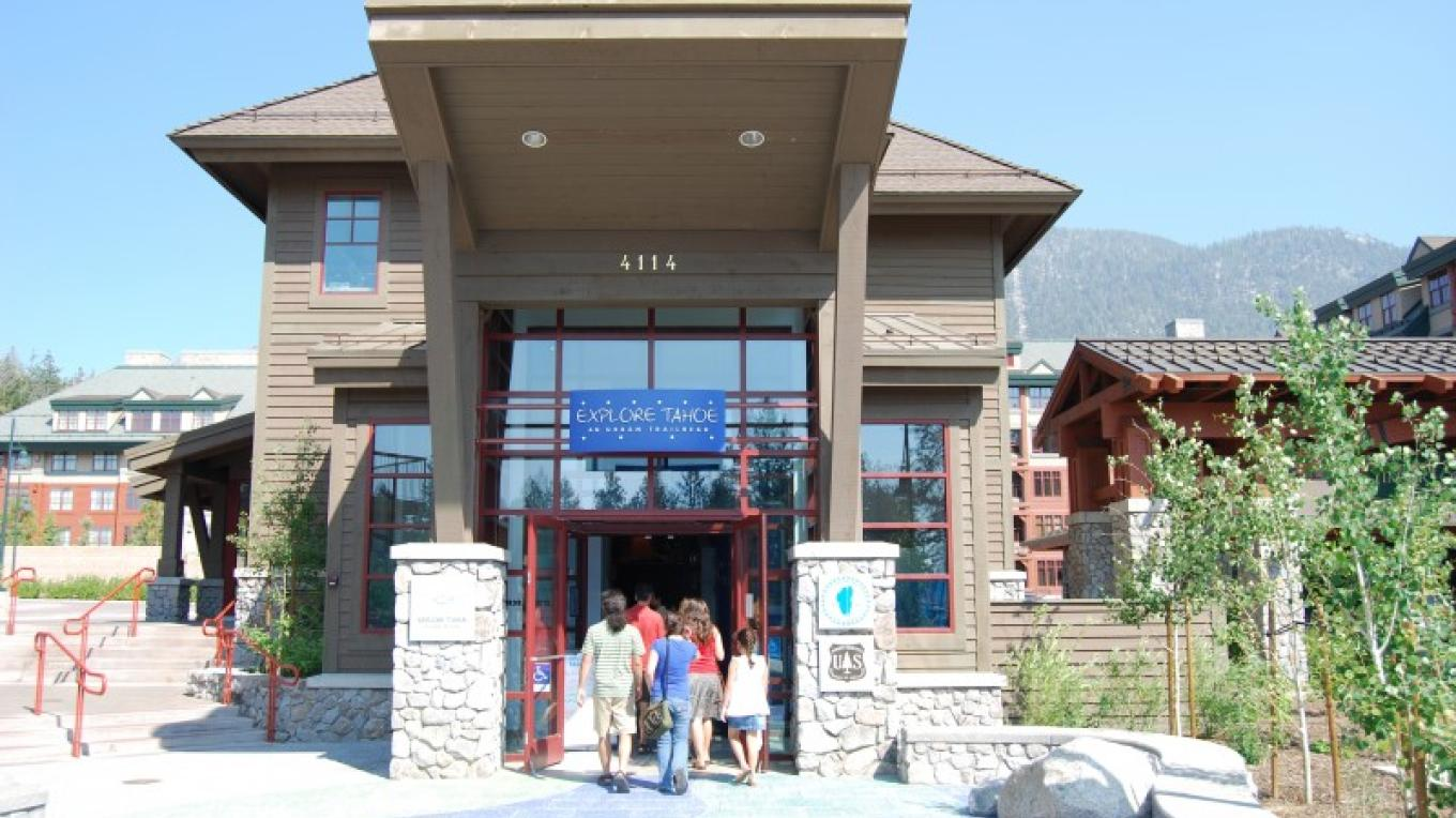 The entrance to Explore Tahoe from Lake Tahoe Blvd. Notice decorative tile simulating water entering the building – Lauren Thomaselli
