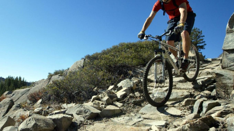Mountain biker on the Donner Lake Rim Trail. – Emma Garrard, Sierra Sun