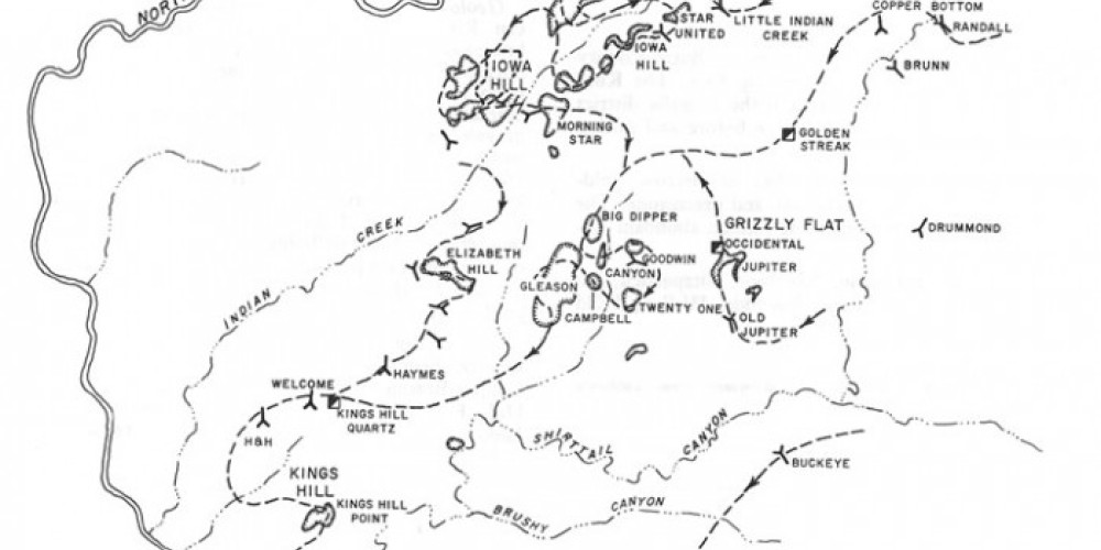 Period map of mining roads and camps – Mining History