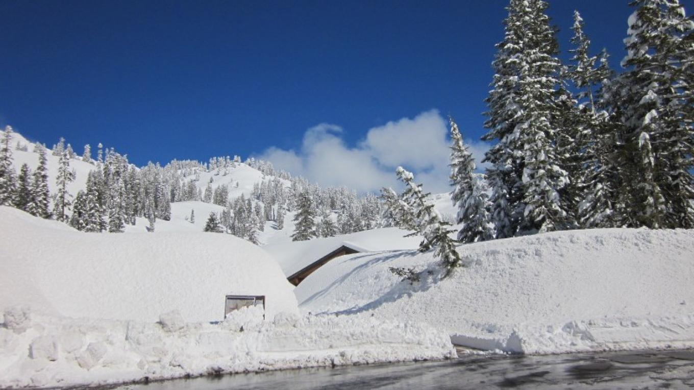 Late May at Lassen. The Visitor Center is buried in snow. – Leah Duran