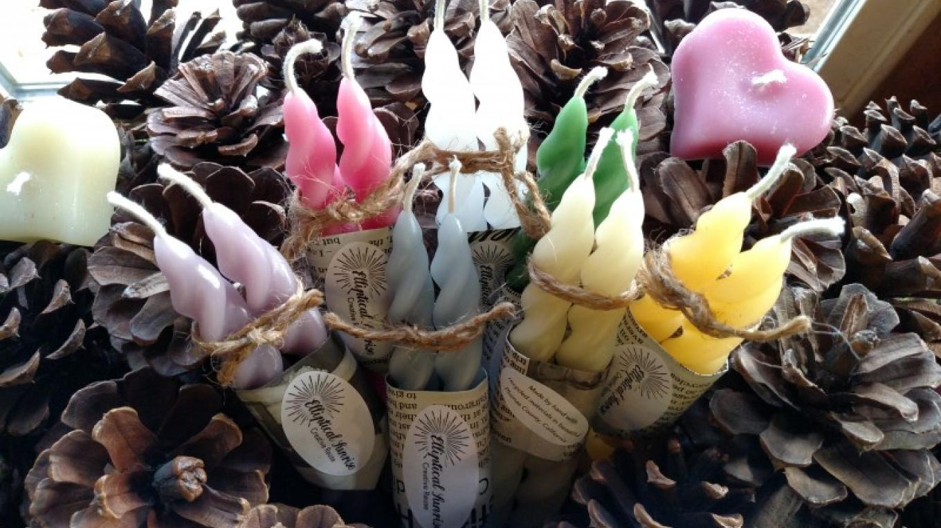 Candles made from recycled wax by Elliptical Sunrise – - photo by Ingrid Burke
