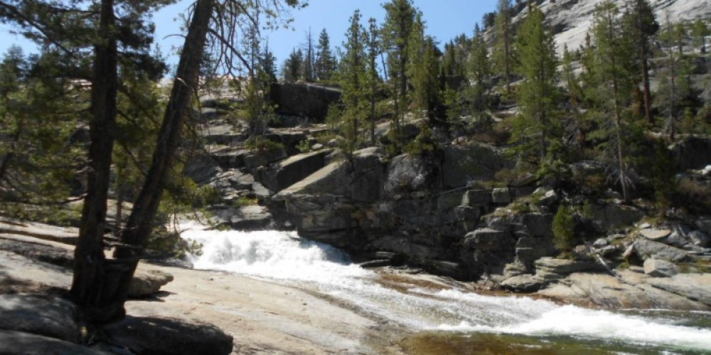 Cascade next to Merced Lake High Sierra Camp