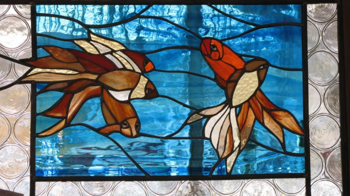 """""""Water Dance"""" Stained Glass  Redbud Carla Thorn – Charles Topping"""