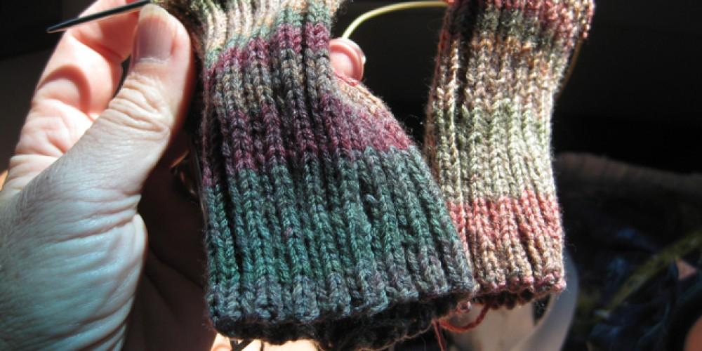 "Socks in progress, 2 at once on one Addi Turbo 40"" needle – Jana Botkin"