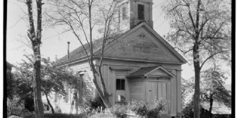 Congregational Church, erected in 1856 and is the oldest Congregational Church building in the state. (No. 261 California Historical Landmark) – Syd White/hmdb.com
