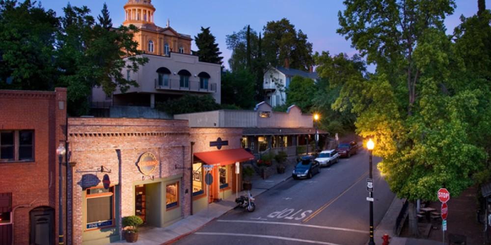 Historic Old Town street at night – Vintagehighway.com