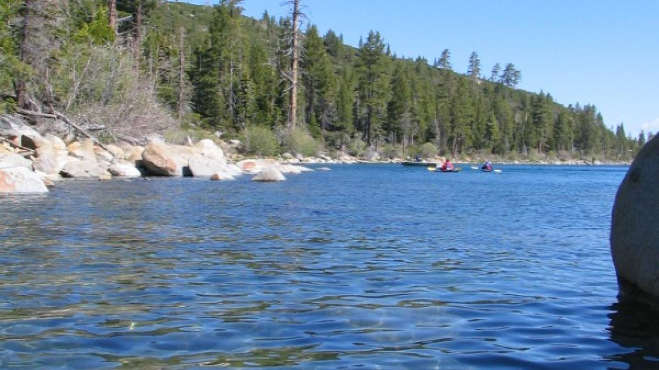 Kayakers on the west shore marvel at an Osprey nest perched over the shoreline. – B. Kingman