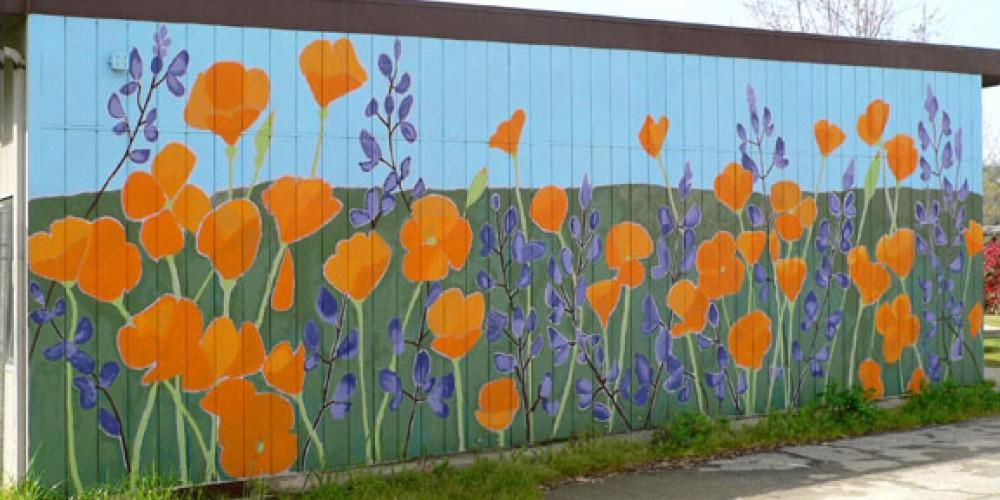California Poppies and Lupines. Master artist Wendy McKellar. Located at Three Rivers Union School. – Nadi Spencer