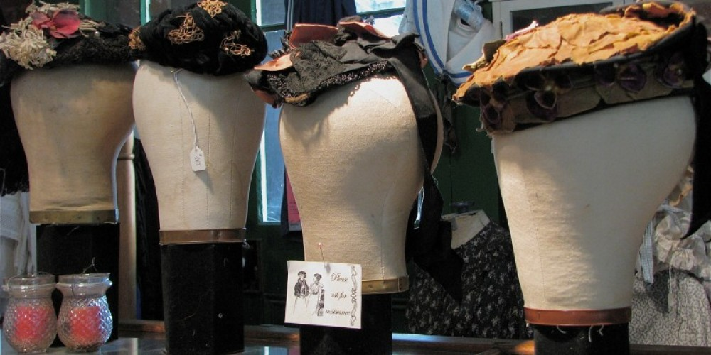 This collection of hats begins with the Civil War era. Original fabric can last and last as seen in the hat on the right - all original! – Karrie Lindsay