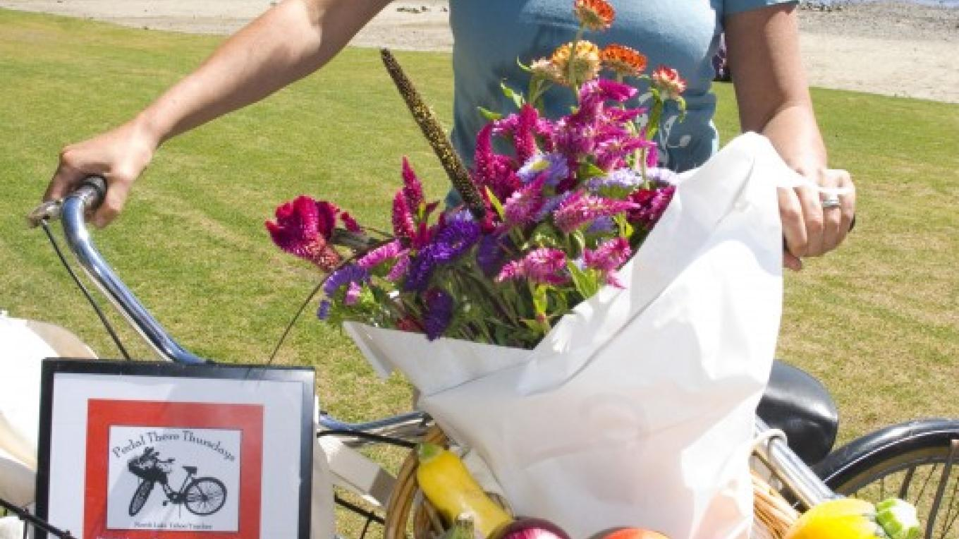 Farmers Market goodies and our Pedal There Program Coordinator – Niobe Burden