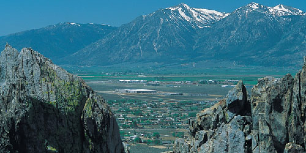 Overlooking Carson Valley with its snowpeaked Sierra Nevada Mountains. – Nevada Commission on Tourism
