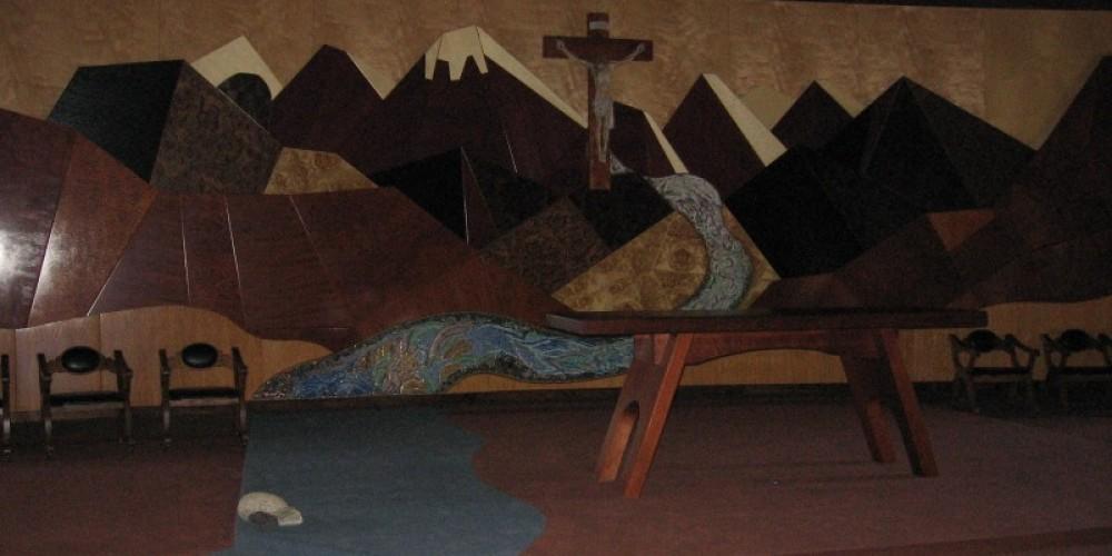 wood mural of the Sierra Nevada
