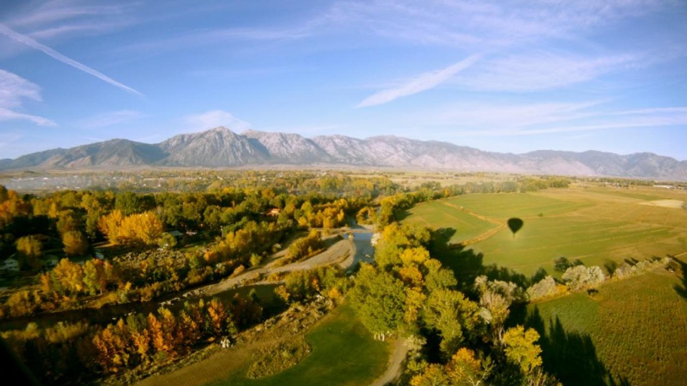 "Our ""Ballooner Eclipse"" as seen from our balloon over the Carson Valley – Whit Landvater"
