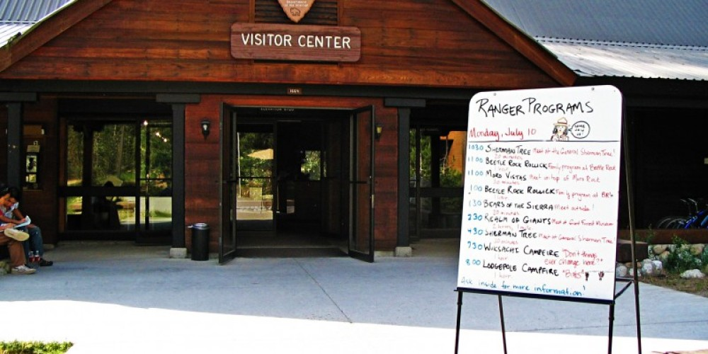 Come on in to the Lodgepole Visitor Center to learn about the area and buy books, postcards, and maps. – National Park Service photo - Rick Cain