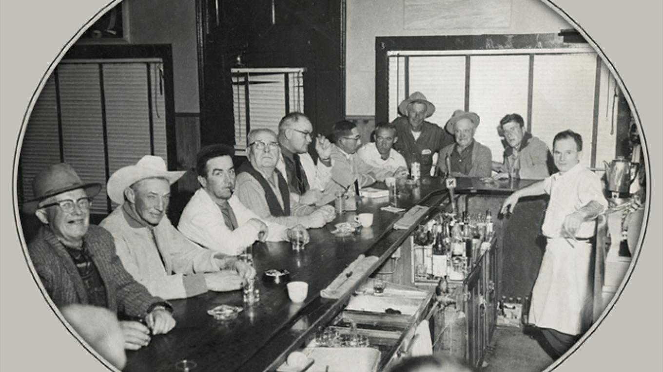 Jean Lekumberry and customers at the JT Bar. – JT