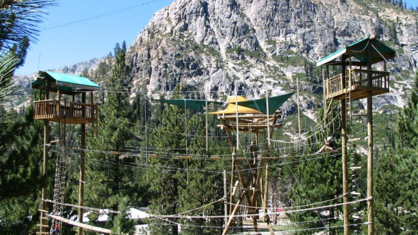 Squaw Valley Adventure Center Ropes Course with Tram Face in the background