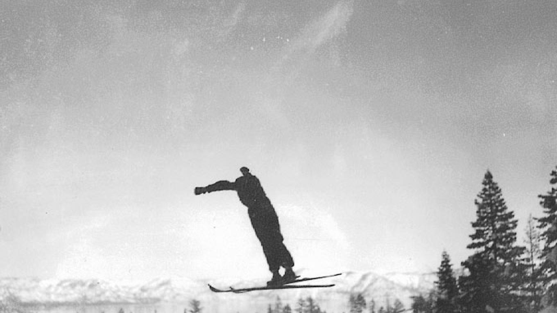 1936. Wayne Poulsen jumping on Olympic Hill at Granlibakken. – Granlibakken Conference Center and Lodge
