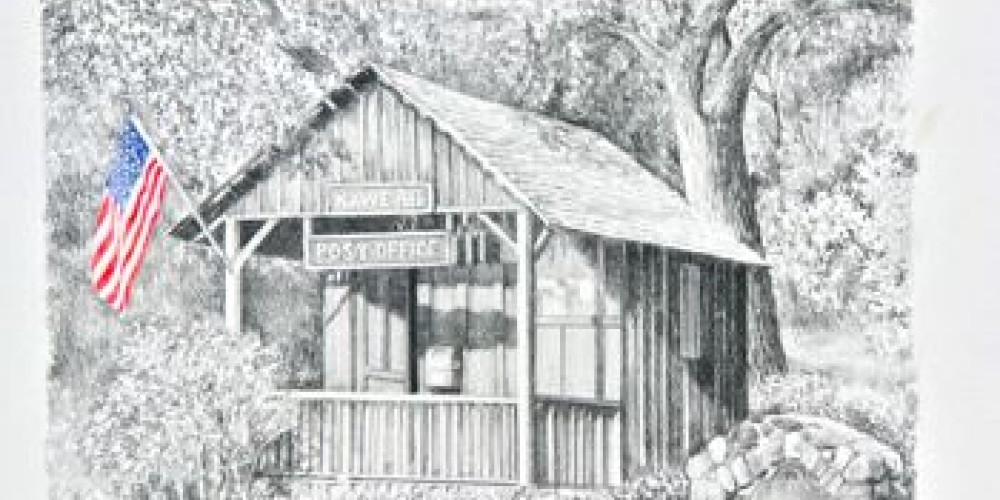 Kaweah Post Office, pencil and colored pencil drawing