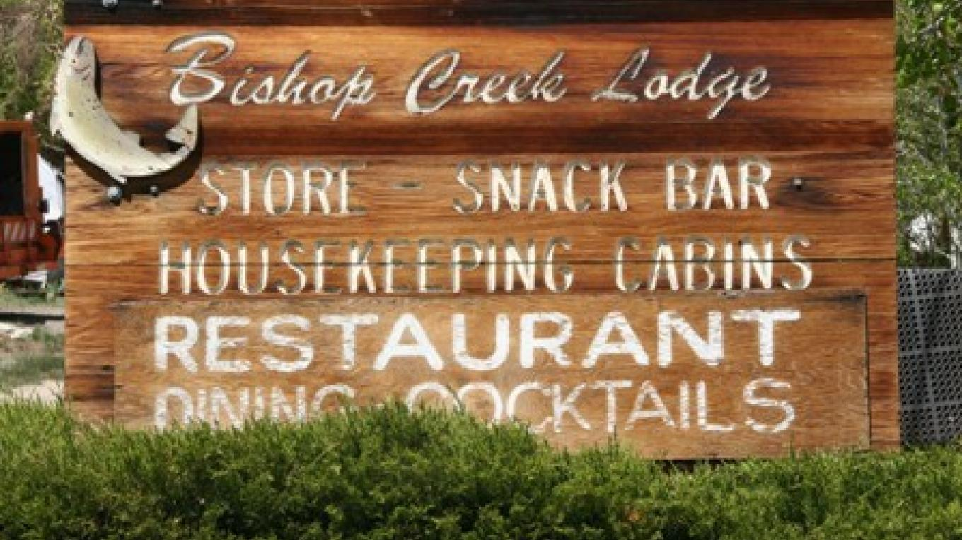 The entrance to the Bishop Creek Lodge and Resort, just below South Lake and the Sierra High Country – Bishop Creek Lodge and Resort