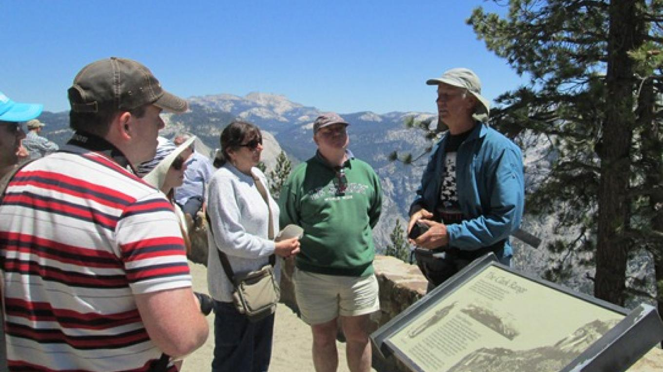 Story-telling about glaciation and Galen Clark at Washburn Point, over looking Yosemite's high country.