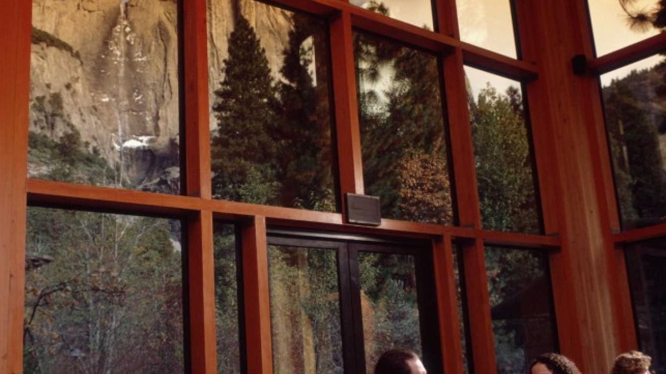 View of Yosemite Falls in winter from the Mountain Room Restaurant at Yosemite Valley Lodge