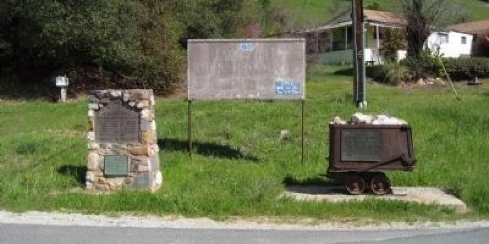 The Archie Stevenot marker is on the ore cart next to the Carson Hill & James Carson marker – Richard Wisehart/Historical Marker Database