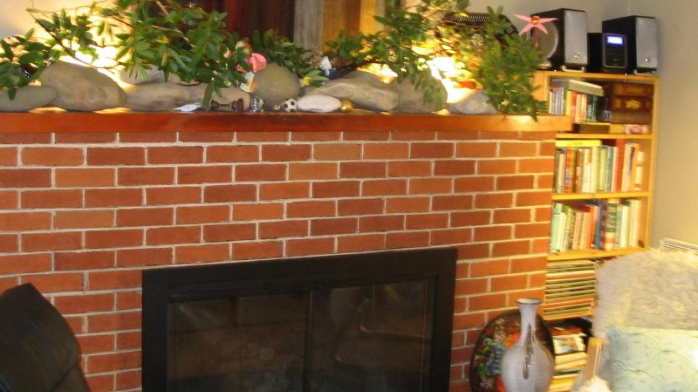 Fireplace in the living room at Fivespot Cabin – Mahalia LoMele