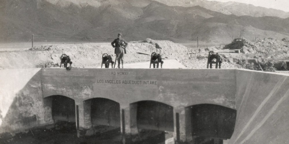 Workers in 1913 test the LA Aqueduct Intake. – Courtesy Eastern California Museum
