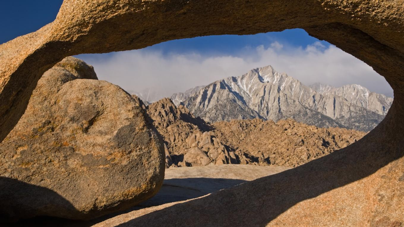 Mobius Arch in Alabama Hills framing Mt. Whitney. – Dean Pennala and Inyo County