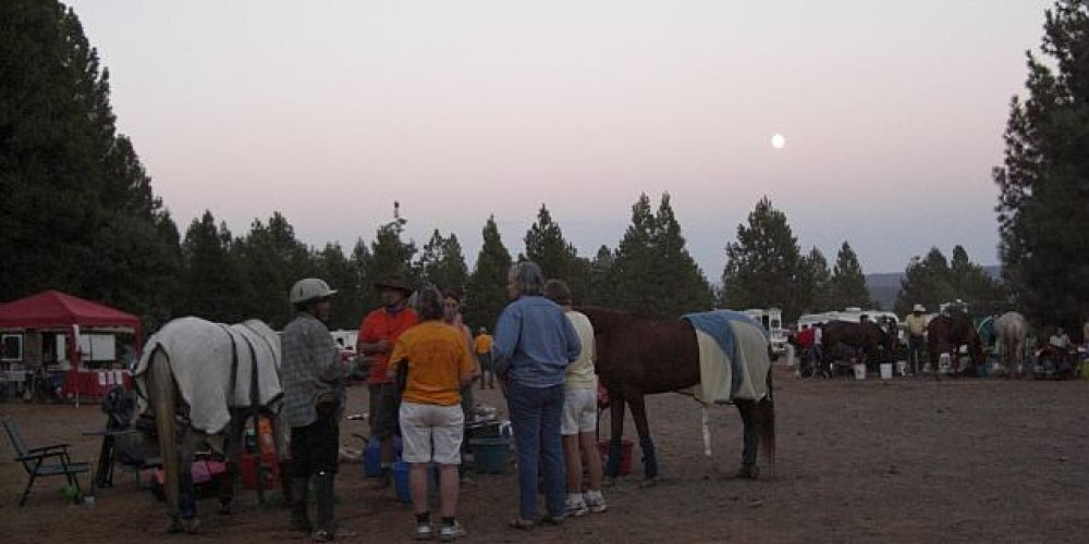 Full  Moon lights the way for Riders to leave Foresthill and navigate the steep American River Canyon to the finish line in Auburn – Debbie Griffin