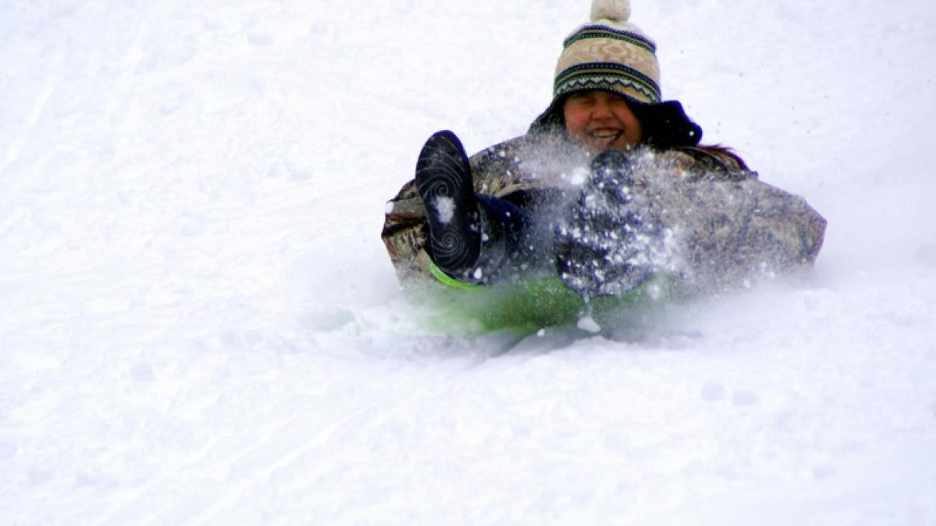 Sledding down Cedar Pass ski hill. – Lorissa Soriano