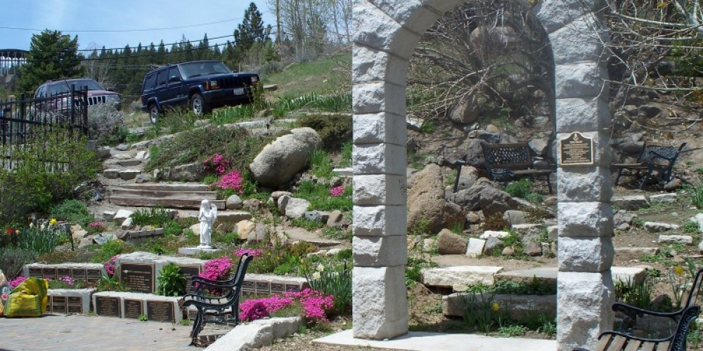 View of the historic Masonic Arch reconstructed in the Community Memorial Garden. – © 2009 Truckee Donner Historical Society All Rights Reserved