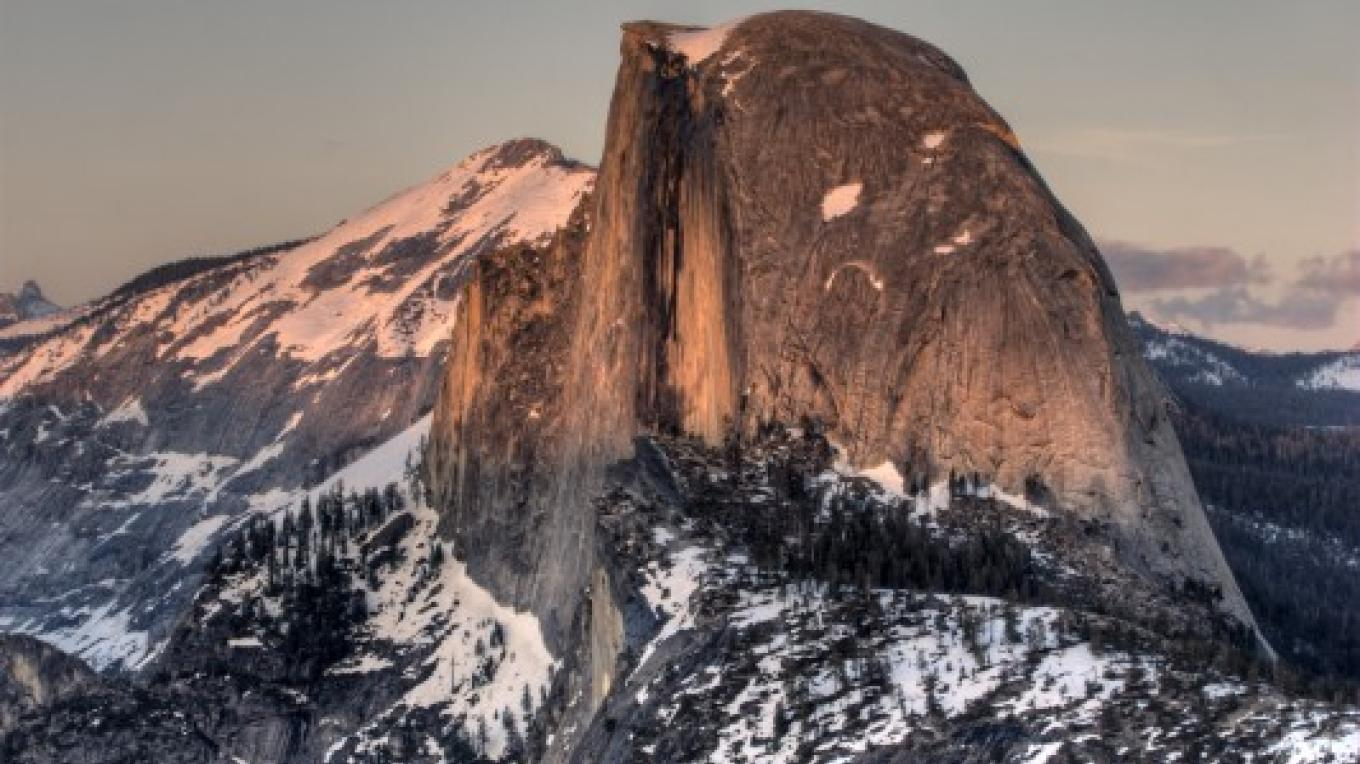 Sunset view of Half Dome alpenglow from the Glacier Point Ski Hut.