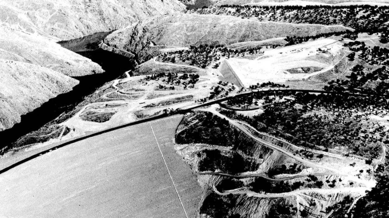 Water filling between new and old Don Pedro Dams circa 1970.