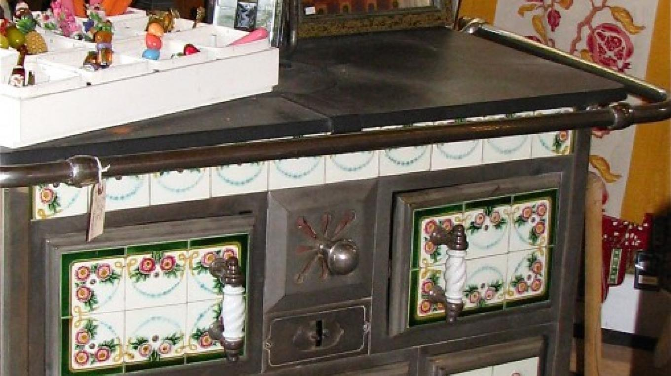 Vintage display pieces give the historic context for modern kitchen ware. Some are available for purchase. – Karrie Lindsay