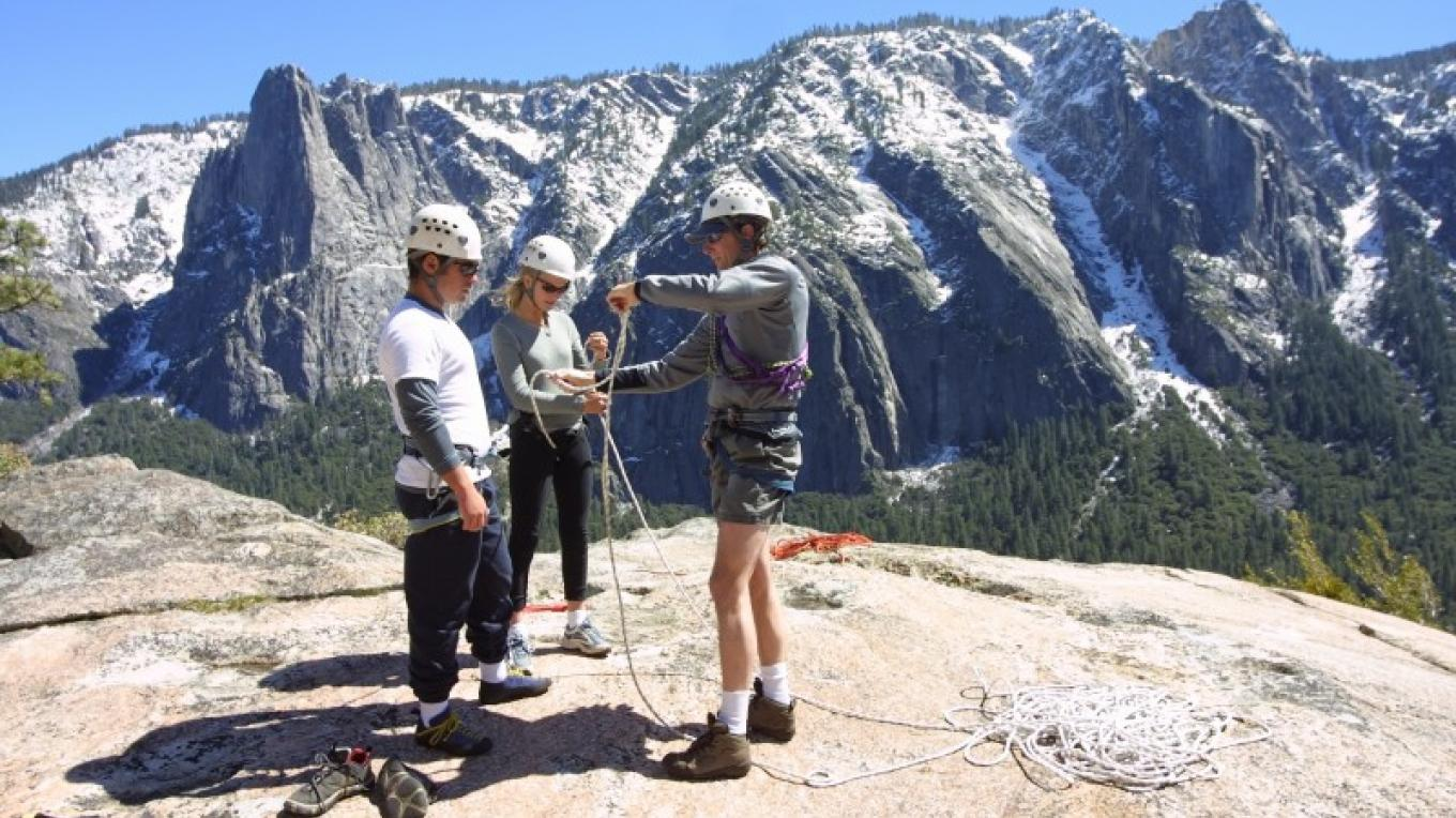Rock climbing class in Yosemite Valley
