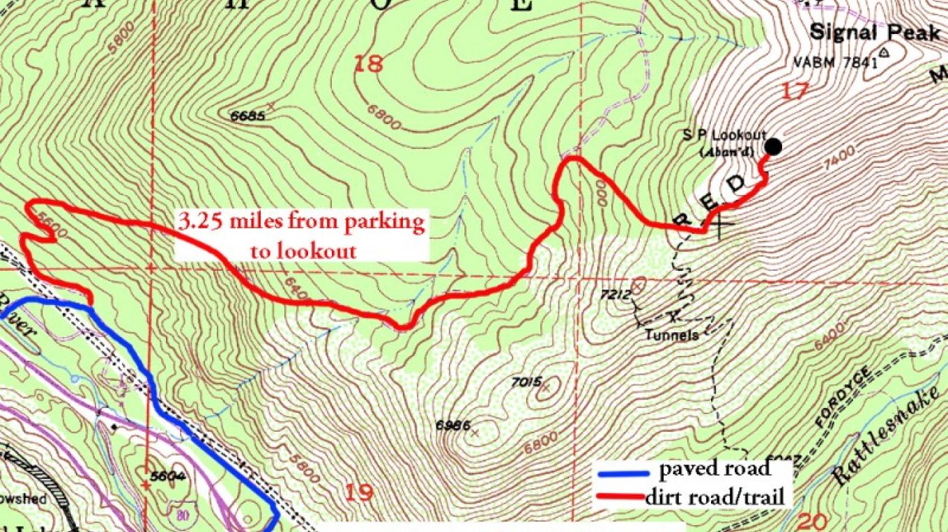 topographic map of trail from trailhead and Eagle Lakes exit to the top of Red Mountain – bill oudegeest