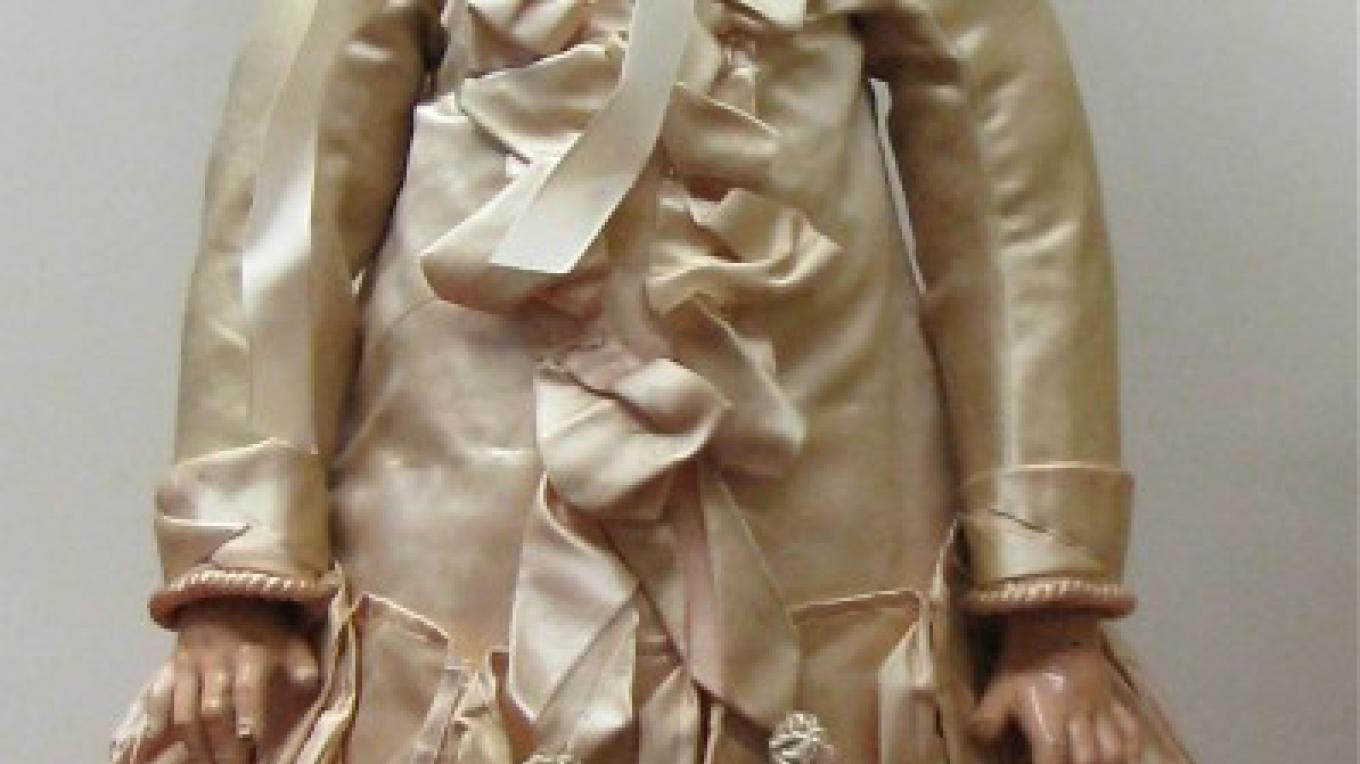 Dolls costumes could be quite fancy. This is a 1880s French Jumeau doll. – Karrie Lindsay