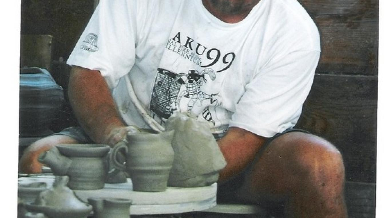 Rodney Mott at his potters' wheel.
