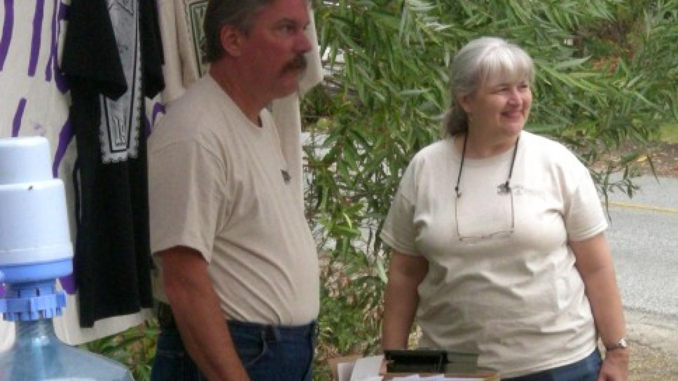 Committee members Nancy Brunson and Brian Rothhammer, t-shirts, envelopes and Zazzle stamps – CJS