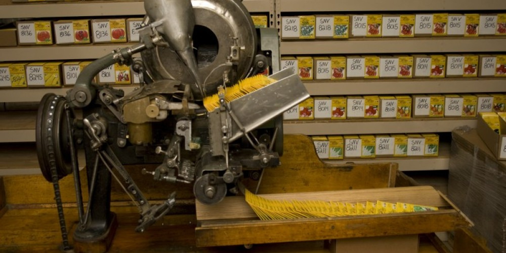 Peaceful Valley's seed packing machine dates back to 1885. It is estimated that there are only 5 functional units like this in existence today. – Stephanie Brown
