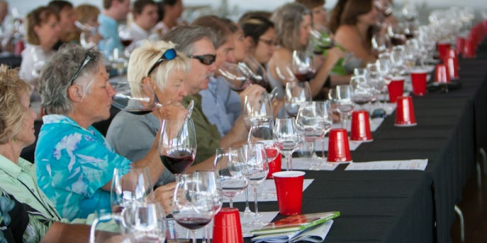 Participants in the Reidel Glass seminar learning how the vessel makes the wine taste better! – Minaret Photography