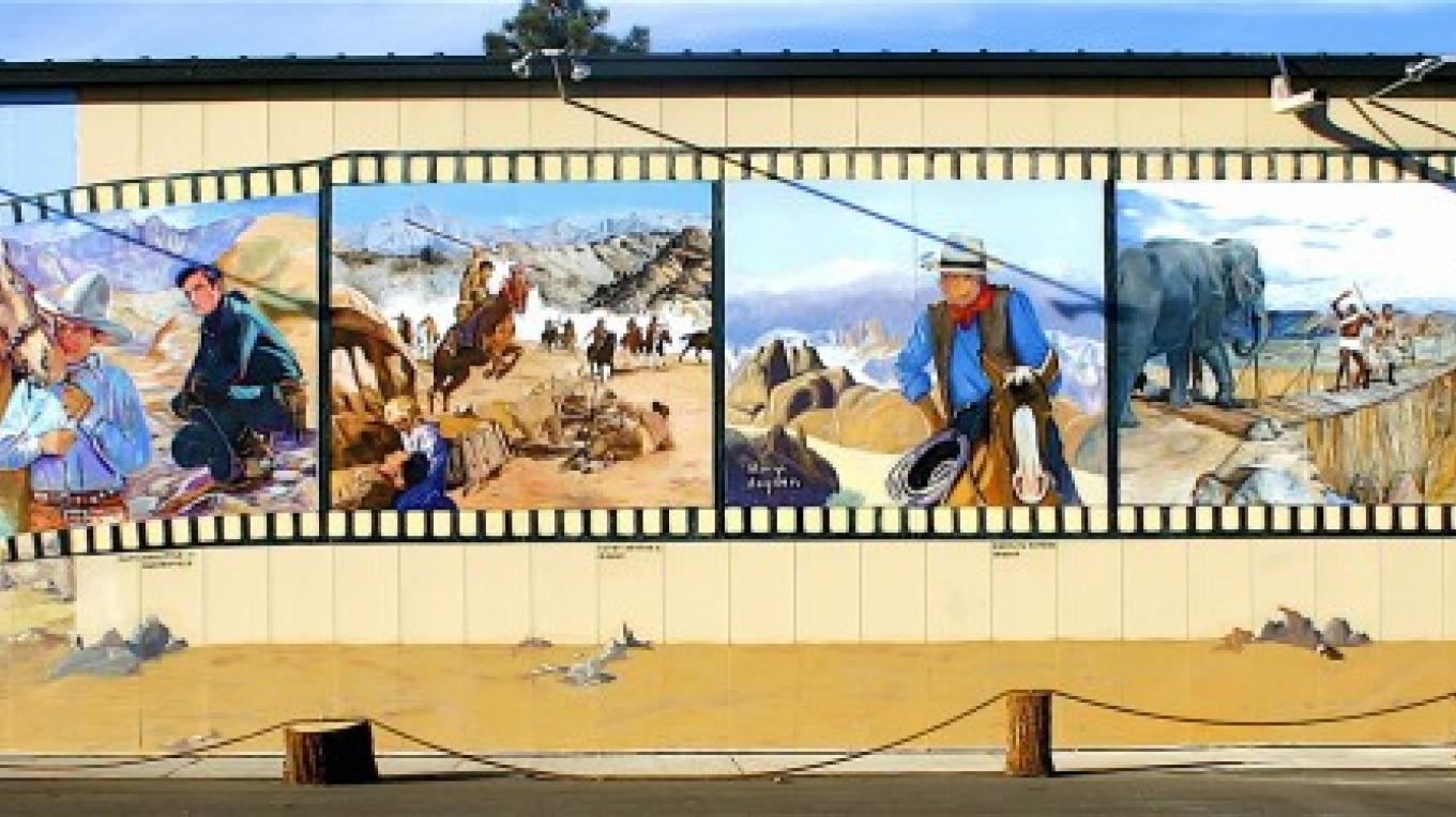 Film history mural on south wall of museum – Museum