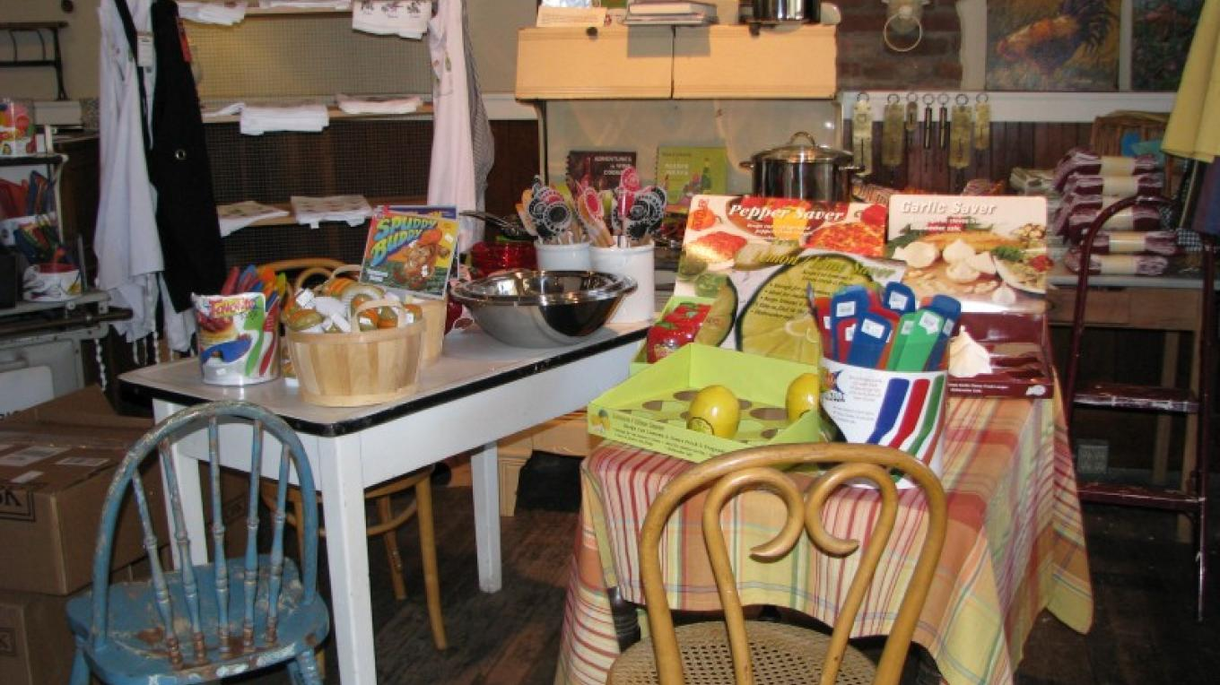 Hard to find vintage furniture grace the selection of contemporary kitchen items. – Karrie Lindsay