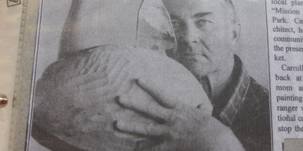 photo of Carroll Barnes, the artist, taken from a newspaper article on his passing, inside the Museum – Leah Catherine Launey