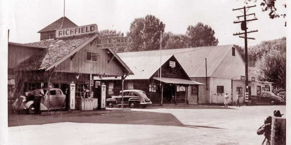 James Store, Post Office (That's Italian building), Barber Shop, Pool Hall; circa 1946 in Old Kernville – From Kern Valley Museum