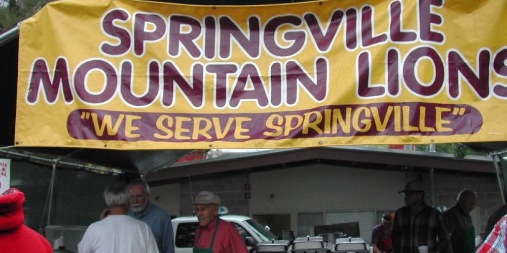 Springville Mountain Lions, an integral part of the festival put on the annual pancake breakfast and tri-tip lunch at the Veterans Memorial Park. – Marilyn Knesel