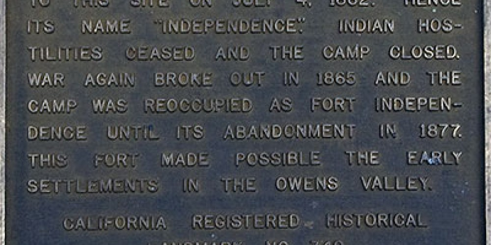This marker is placed at the site of Camp Independence. Visitors view a large expanse of Owens Valley – Noehill.com