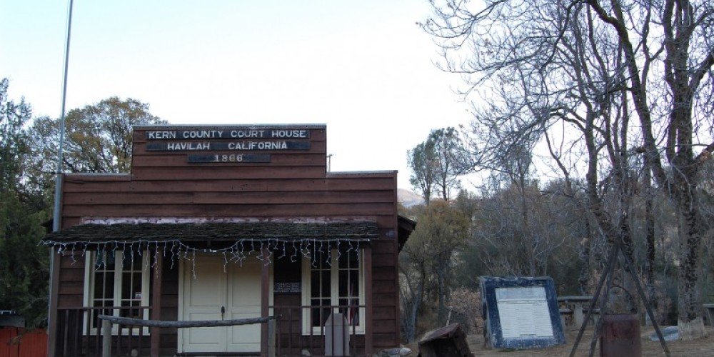 The circa 1868 courthouse replica (circa 1966) was restored in 1976 and serves as a museum today. The museum is open weekends April through September. – David Jordan, December 2007