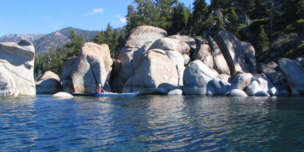 Exploring one of the wonderful boulder gardens of Lake Tahoe's shoreline. – B. Kingman